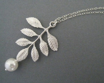 Leafy Necklace and Pearl in STERLING SILVER CHAIN--Swarovski pearl--perfect gift, gift for mom for friends birthday present for her