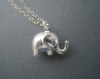 Silver Elephant Charm Necklace in STERLING SILVER CHAIN--Valentines Necklace-Perfect Gift for mom for friends, Birthday Present for her