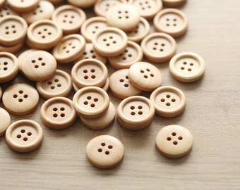 Wood buttons - 20 pcs of wooden buttons - wood supplies - 17mm