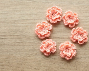 6 pcs of peach crocheted flowers, 24mm