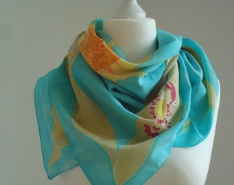 Beach feelings, one of a kind, Crepe de chine 100% Silk Scarf, 90cm x 90cm,hand painted