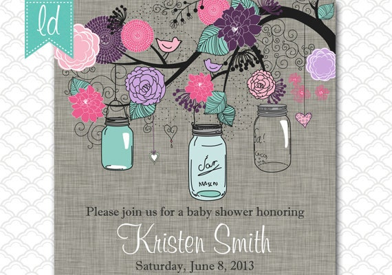 Turquoise And Pink Wedding Invitations: Mason Jar Wedding Invitation Pink Purple Turquoise Gray Linen