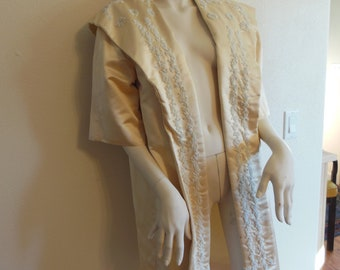 creme silk beaded opera coat