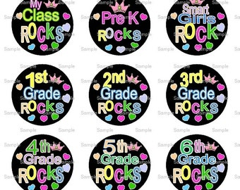 School Rocks Bottle Cap Images 4x6 Bottlecap Collage Scrapbooking Jewelry Hairbow Center