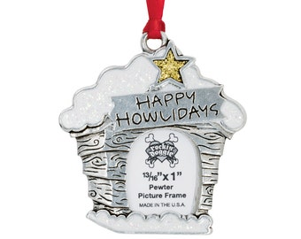 Pewter Pet Ornament - Happy Howlidays/Frame