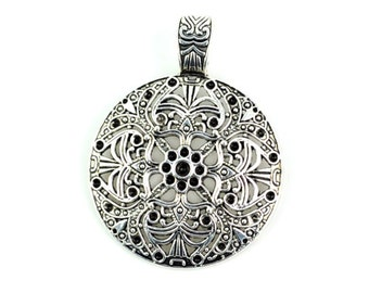 Vintage Round Plate Pendant Tribal Flower Charm Fashion Necklace Scarf Accessories,Diameter 4.5cm,PT-319