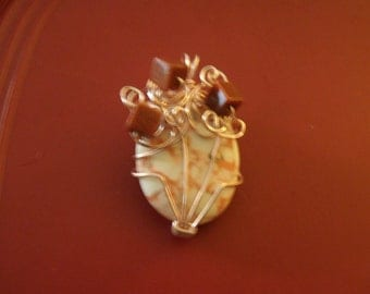 Orange Turquoise with Sunstone Wire Wrapped Pendant