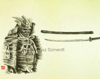 Samurai armor, japanese sword, asian art, sumi-e, warrior mask, armor knight ,shogun poster, unique painting ,custom, sumi-e