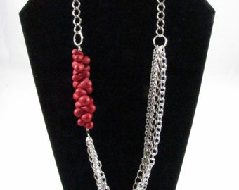 Red Polymer Clay & Silver Chain Necklace
