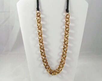 Bronze & Leather Double Linked Necklace