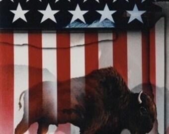 """James Carter """"American Buffalo"""" --Original Lithograph 1989"""