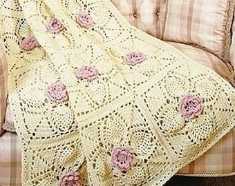 New Lower Price Roses and Pineapples Afghan