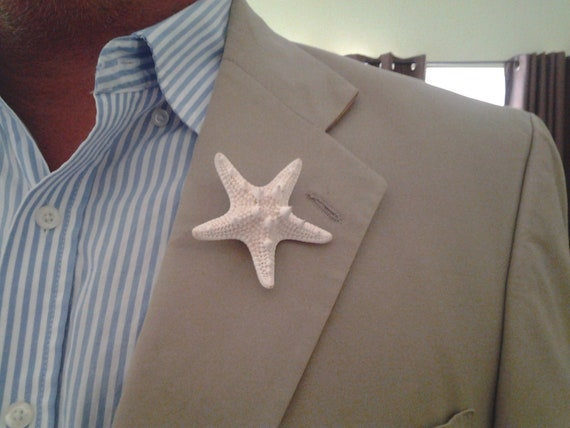 White Knobby Starfish Boutonniere for Beach Weddings