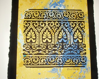 Exotic Block Print, Woodblock print, marbled paper, 28cm H x 21cm W