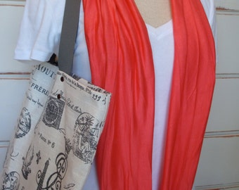 Free US Shipping  Coral Orange Summer Jersey Knit Infinity Scarf Cowl