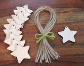 10x Wooden Star Gift Tags Wedding Table Place Names Favours Blank Shapes Invitation 5 cm, 7 cm, 9 cm, 10.5 cm & 12 cm