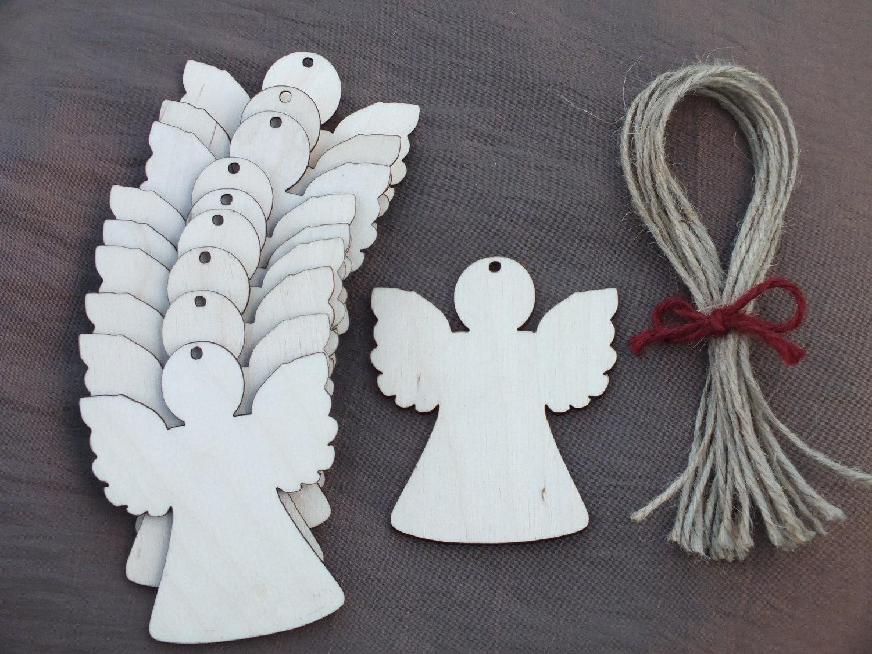 Wedding Angels Decorating Ltd: 10x Wooden Angel Rustic Decoration Gift Wedding Hanging