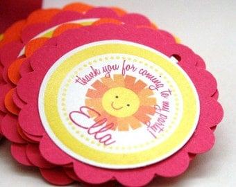 Sunshine Birthday Party Theme - 20 Favor Tags - Hot Pink Yellow Orange