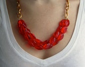 Fire Red and Gold Chain Statement Necklace - themintcollection