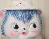"Vintage, 1960's, Cat Head Cookie Jar, Ceramic Kitty, Biscuit Container, ""Miss Priss"" style"