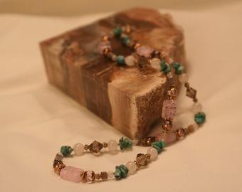 Rose quartz, Turquoise, and Smoky grey necklace (1002)