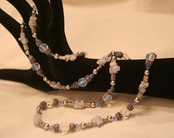 Opal Glass, Blue Lace Agate and Pewter Necklace (1003)