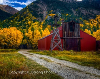 Fine Art Photography - Red Barn, near Aspen, Colorado, Wall Decor, Wall Art, Office Art