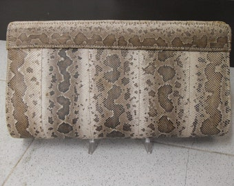 Vintage snake-skin patterned clutch
