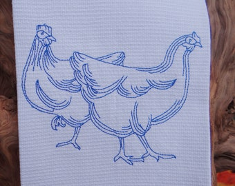 Chicken Dish Towel Huck Towel Kitchen Towel Tea Towel - Blue Hens