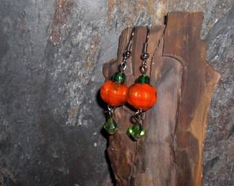 Glass Lampwork Pumpkin Earrings