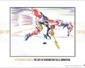 Pittsburgh Scores: The Art of Kensington Falls Animation print featuring hockey penguin.