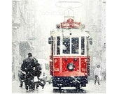 Wall decor - Tram photography, SALE Winter  Photography,  red photography, Snow Photography, istanbul photo, colour, red,  8''x8'' - gonulk