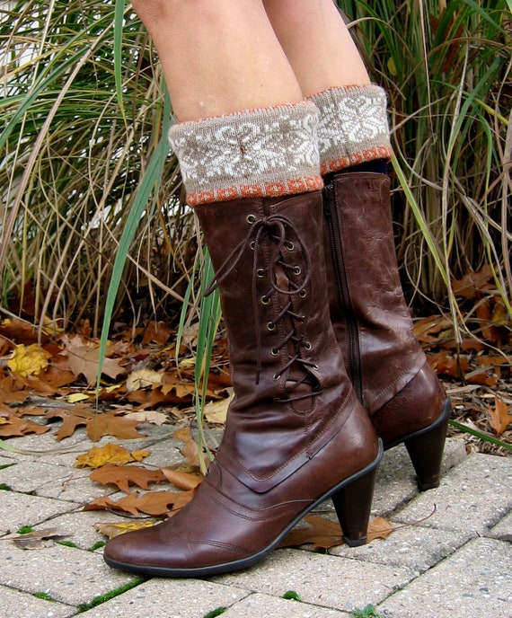 Vintage Snow' Shoe Beaded Fold Over Boot Cuff / Boot Socks Upcycled - Recycled Handmade