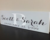 "Personalized Family Name Sign Established name sign 7""x24"""