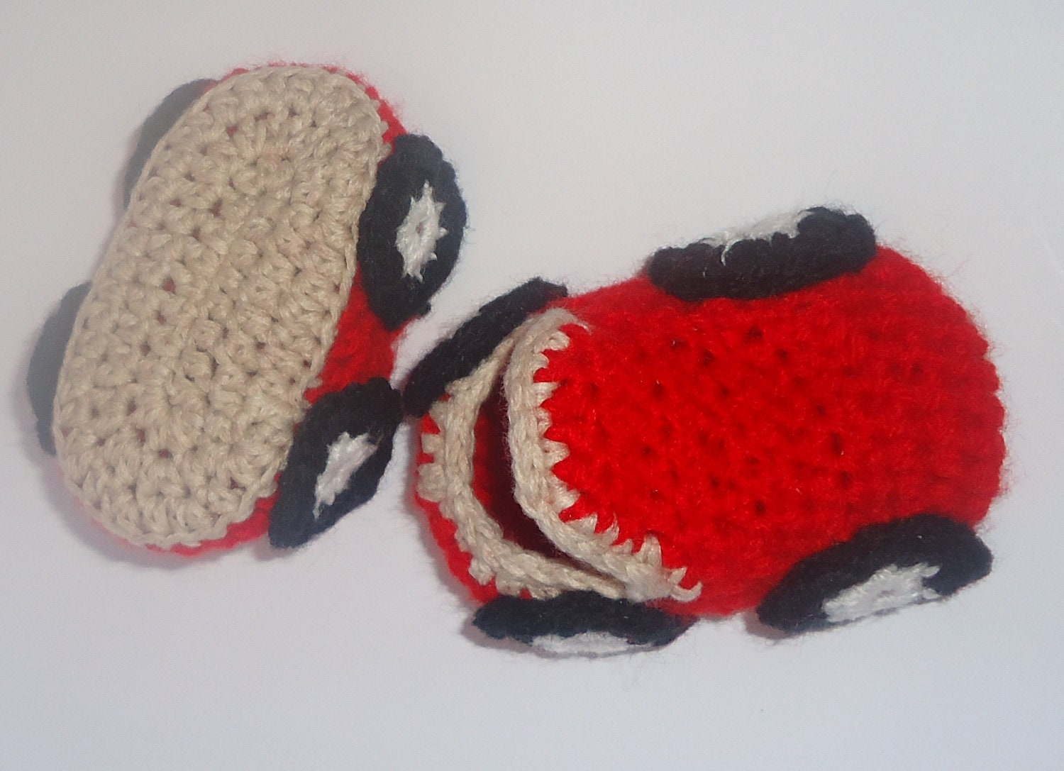 Cute crocheted red car slippers shoes for baby. Crochet baby