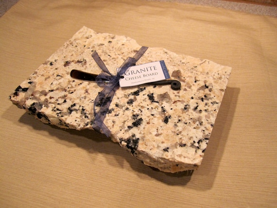 Large Granite Cheese Board with Black wrought iron Cheese Knife