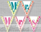 Mr. & Mrs. banner, printable , summer wedding , engagement, bunting banner, wedding shower, DIY wedding photo prop, PDF