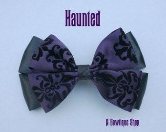 haunted hair bow - purple