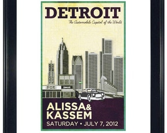 Personalized Wedding Poster - Detroit