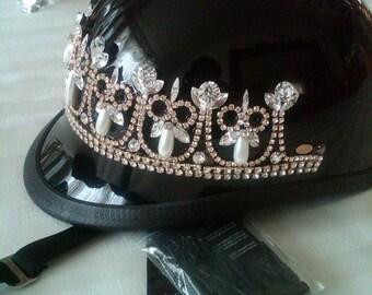 Elegant Pearl and Crystal Tiara  Motorcycle Helmet