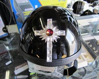 Dazzling Swarovski Crystal Cross Motorcycle Helmet