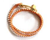 Double Wrap Gold & Orange Leather and Diamanté Rhinestone Bracelet