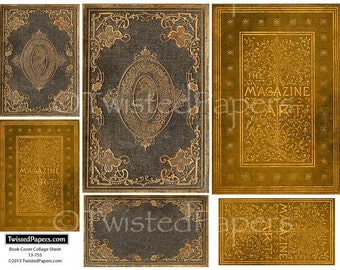 Antiquarian Book Cover Vintage Digital Collage Sheet for ATC (2.5x3.5), Die-Cut (4x6), ACEO, Journal, 13-755