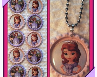 Sofia the First Bottle cap necklaces
