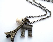 Eiffel Tower necklace  Paris charms  vintage inspired antique bronze ivory pearl