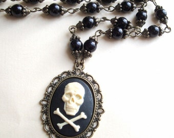 Pirate necklace skull and crossbones cameo beaded antique bronze and black