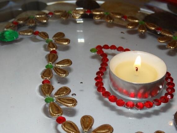 paisley floating tea light candle holder and floor rangoli. Black Bedroom Furniture Sets. Home Design Ideas