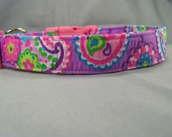 Pink on Purple Paisley Dog Collar