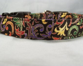 Colorful Scroll on Black Dog Collar