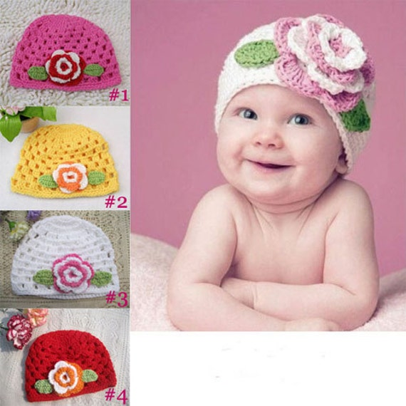 Trendy big flower baby hat